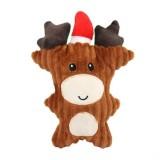 WJ084 Christmas Santa Claus Pet Dog Toys Chew Squeaker Pet Plush Toys (Elk)