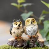 2 PCS Moss Micro Landscape Creative Resin Mini Owl Ornament, Random Color Delivery