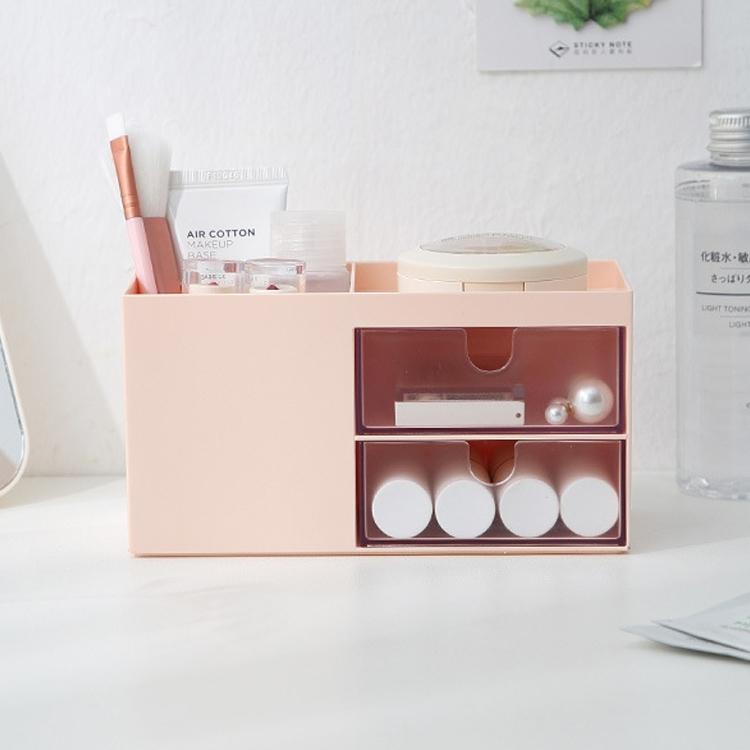 Dual Drawers Desktop Plastic Storage Box Makeup Organizer Case Cosmetic Container, Size: 17.6X9X9.2cm (Pink)