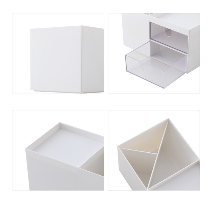 Dual Drawers Desktop Plastic Storage Box Makeup Organizer Case Cosmetic Container, Size: 17.6X9X9.2cm (White)