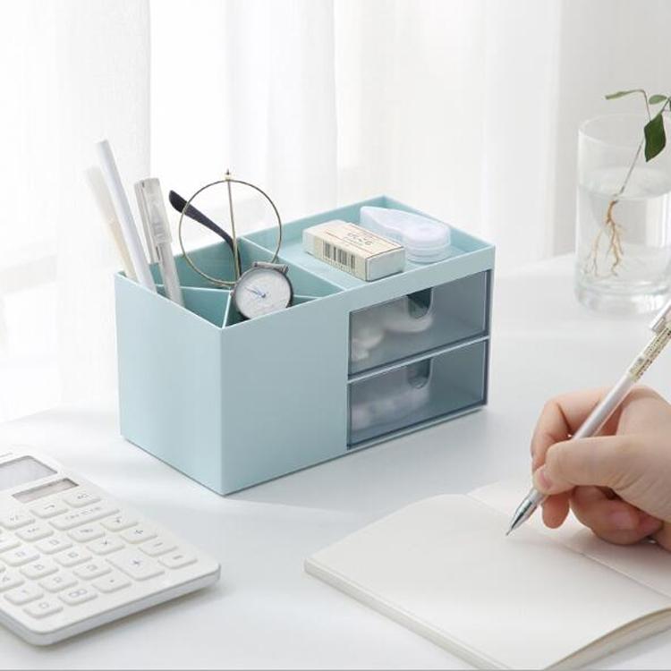 Dual Drawers Desktop Plastic Storage Box Makeup Organizer Case Cosmetic Container, Size: 17.6X9X9.2cm (Blue)