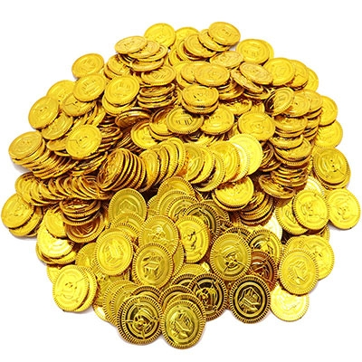 Children Pirate Treasure Toys Treasure Hunting Game Props Pirate gold Coin silver Coin copper Coin toys (Gold)