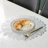 2 PCS Sunflower Shape Household Fashion PVC Dining Table Placemat Europe Style Kitchen Tools Tableware Pad Coaster Coffee Tea Place Mat (Silver)