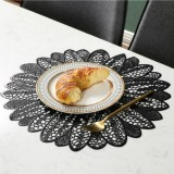 2 PCS Sunflower Shape Household Fashion PVC Dining Table Placemat Europe Style Kitchen Tools Tableware Pad Coaster Coffee Tea Place Mat (Black)