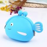 Mini Cute Fish Creative Cartoon Silicone Coin Purse (Light Blue)