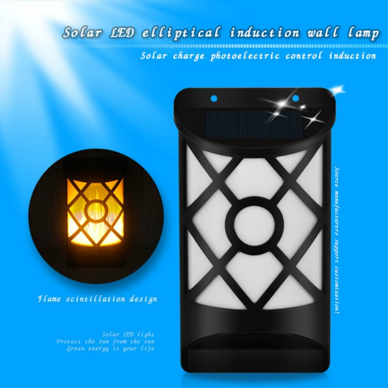 66 LEDs Solar Flame Courtyard Flood Light Wall Lamp Outdoor Lawn Landscape Street Light Induction Lamp