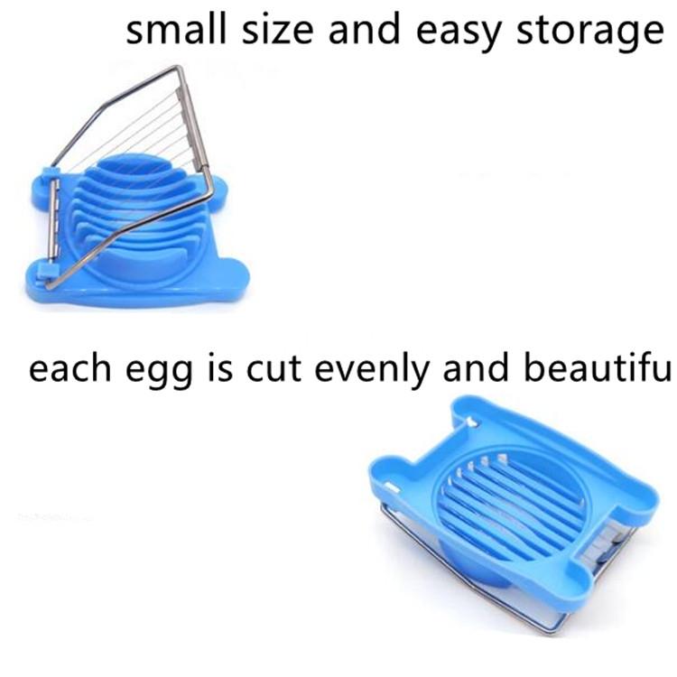2 PCS Multifunctional Stainless Steel Egg Preserved Egg Slicer Fancy Splitter Kitchen Supplies Egg Cutting Tools (Blue)