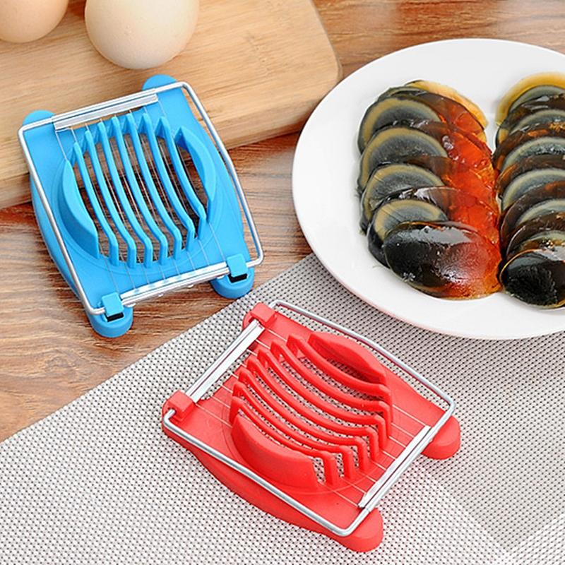 2 PCS Multifunctional Stainless Steel Egg Preserved Egg Slicer Fancy Splitter Kitchen Supplies Egg Cutting Tools (Red)
