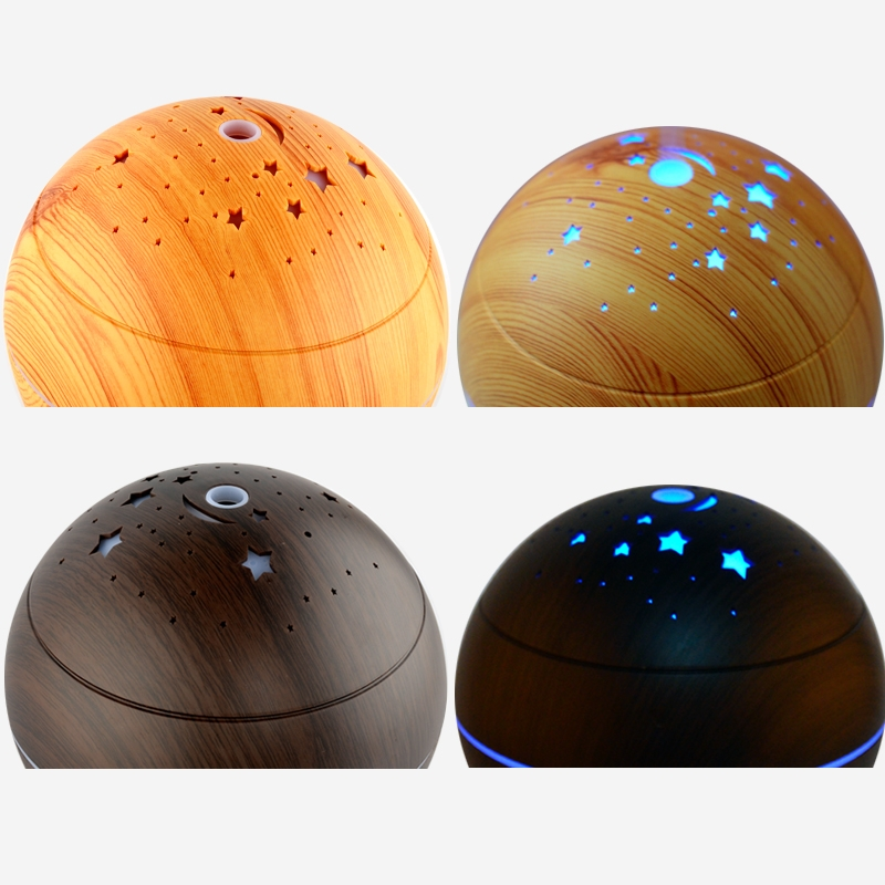 CLDX-105 500ml Essential Oil Diffuser Air Humidifier Starry Sky 7 Color LED Lights Ultrasonic Aromatherapy Diffuser, Plug Type: US Plug (Light Wood)