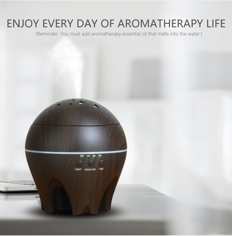 CLDX-105 500ml Essential Oil Diffuser Air Humidifier Starry Sky 7 Color LED Lights Ultrasonic Aromatherapy Diffuser, Plug Type: EU Plug (Dark Wood)