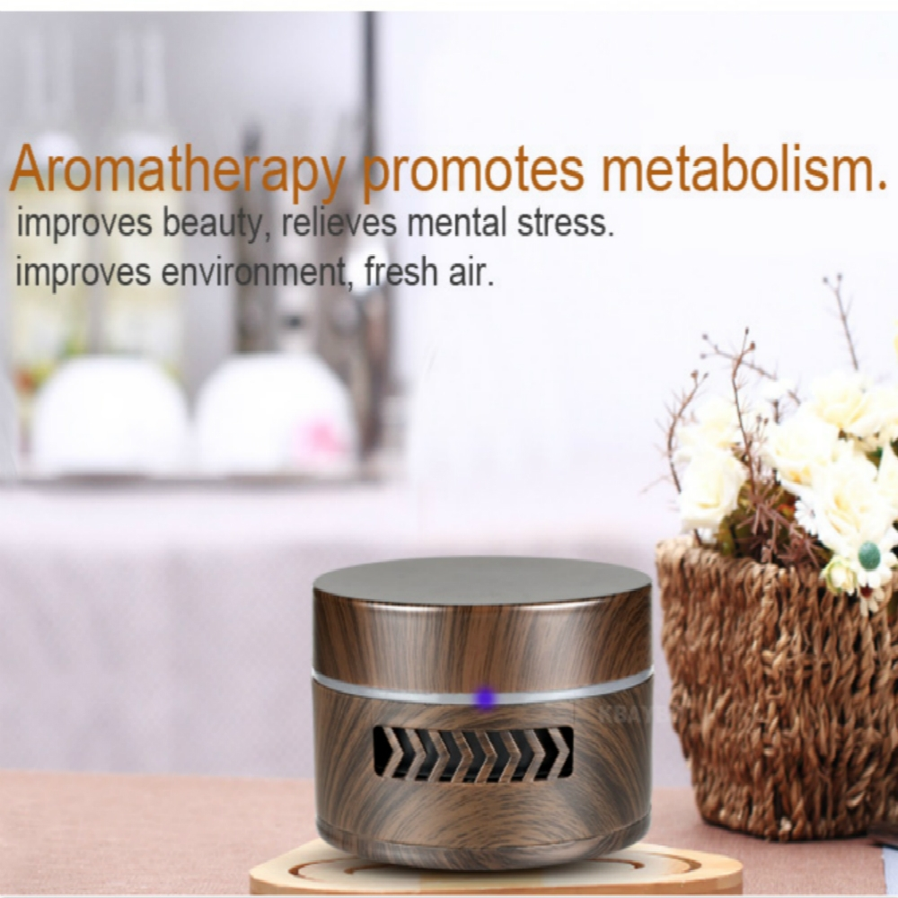 YX-123 Mini Car Vibration Intelligent Diffuser Aromatherapy Air Purifier Smart Essential Oil Diffuser (Dark Wood)