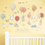 DIY Cartoon Mural Cute Balloon Rabbit Bunny Wall Sticker For Kids Room Decor Furniture Wardrobe bedroom Living Room Sticker