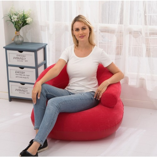 Inflatable Flocked Casual Lazy Couch Foldable Recliner U-shaped Base Sofa (Red)