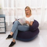 Inflatable Flocked Casual Lazy Couch Foldable Recliner U-shaped Base Sofa (Blue)