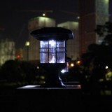 Solar Pillar Light Outdoor Waterproof Decorative Garden Lawn Wall Lamp (White Light)