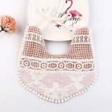 Cotton Lace Female Baby Bib Princess Bib Saliva Towel 360 Degree Rotation Child Fake Collar Decoration, Color: Jacquard Lace Dark Pink