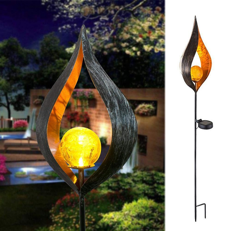 Solar Flame Light LED Iron Art Outdoor Garden Lawn Decorative Ground Plug Light Landscape Lamp (Style 2)