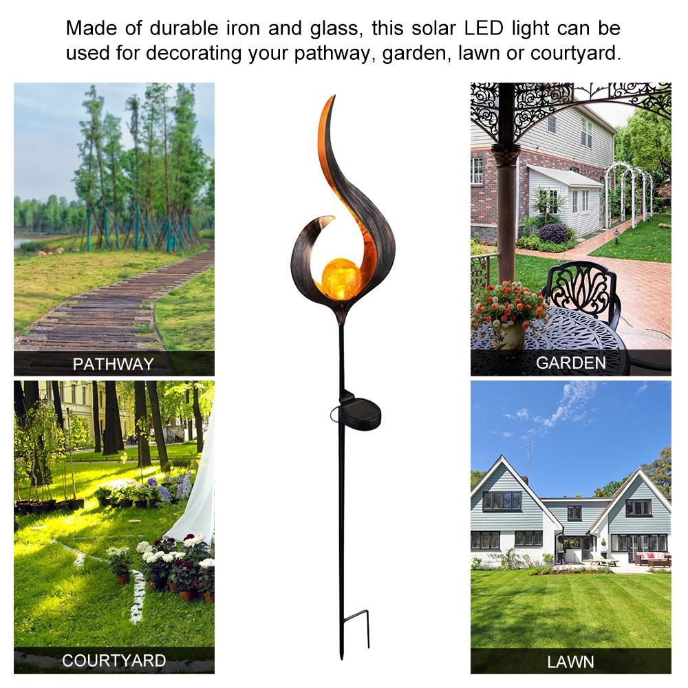 Solar Flame Light LED Iron Art Outdoor Garden Lawn Decorative Ground Plug Light Landscape Lamp (Style 3)