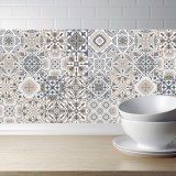 2 PCS Retro Tile Stickers Kitchen Bathroom PVC Self Adhesive Wall Stickers Living Room DIY Decor Wallpaper Waterproof Decoration, Style: Laminating (MZ039 E)