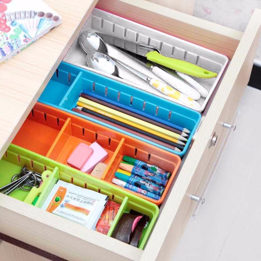 Adjustable Drawer Cutlery Divider Case Makeup Storage Organizer Box, Size: 30x12x5cm (White)