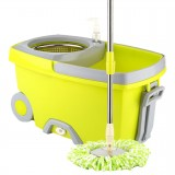 Rotating Double Drive Mop Household Hand Pressing Mop Bucket with Tow mop Head (Green)