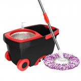 Rotating Double Drive Mop Household Hand Pressing Mop Bucket with Tow mop Head (Black)