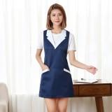 Brief Sleeveless Nail Waitress Apron Woman Restaurant Kitchen Apron with Pocket (Navy Blue)