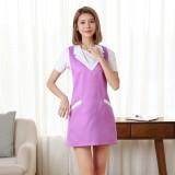 Brief Sleeveless Nail Waitress Apron Woman Restaurant Kitchen Apron with Pocket (Purple)