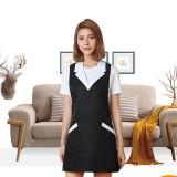 Brief Sleeveless Nail Waitress Apron Woman Restaurant Kitchen Apron with Pocket (Black White)
