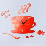 2 Sets Home DIY 3D Stereo Decorative Fashion Coffee Wall Clock Acrylic Mirror Wall Sticker Coffee Clock (Red)