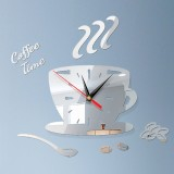 2 Sets Home DIY 3D Stereo Decorative Fashion Coffee Wall Clock Acrylic Mirror Wall Sticker Coffee Clock (Silver)