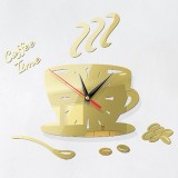 2 Sets Home DIY 3D Stereo Decorative Fashion Coffee Wall Clock Acrylic Mirror Wall Sticker Coffee Clock (Light Gold)