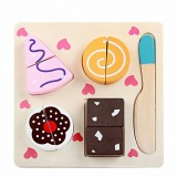 Children Wooden Cutting Fruits and Vegetables Educational Toys Kitchen Pretend Game Cooking Educational Toys (Pastry)