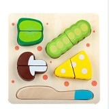 Children Wooden Cutting Fruits and Vegetables Educational Toys Kitchen Pretend Game Cooking Educational Toys (Pea)