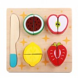 Children Wooden Cutting Fruits and Vegetables Educational Toys Kitchen Pretend Game Cooking Educational Toys (Strawberry)