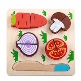 Children Wooden Cutting Fruits and Vegetables Educational Toys Kitchen Pretend Game Cooking Educational Toys (Carrot)