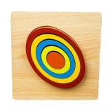 DIY Creative 3D Wooden Puzzle Geometry Shape Puzzle Children Educational Toys (Oval)