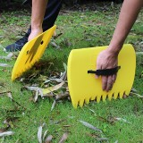 2 PCS Trimming Grass Collect Hand Rakes Garden Cleaning Pick Up Rubbish Leaves Tool Portable Yard Lawn Grabber Leaf Scoop (Yellow)