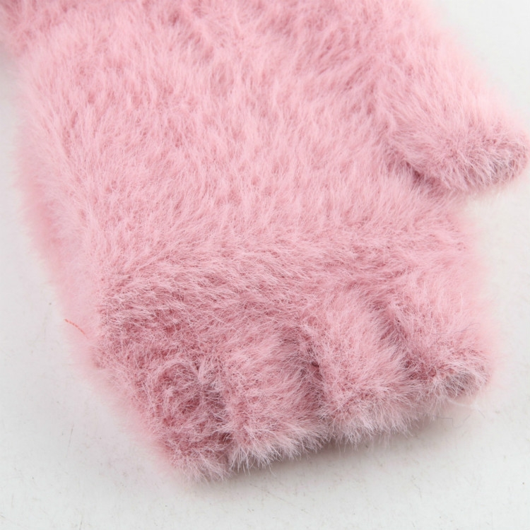 Children Half Finger Gloves Knitted Cold Warm Plus Velvet Fingerless Gloves (White)