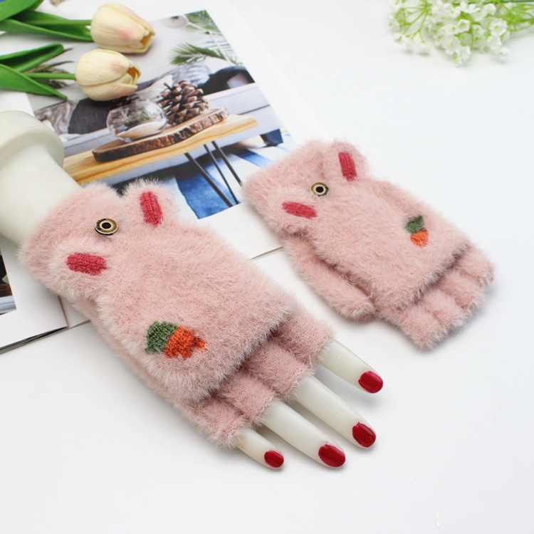 Children Half Finger Gloves Knitted Cold Warm Plus Velvet Fingerless Gloves (Light Gray)
