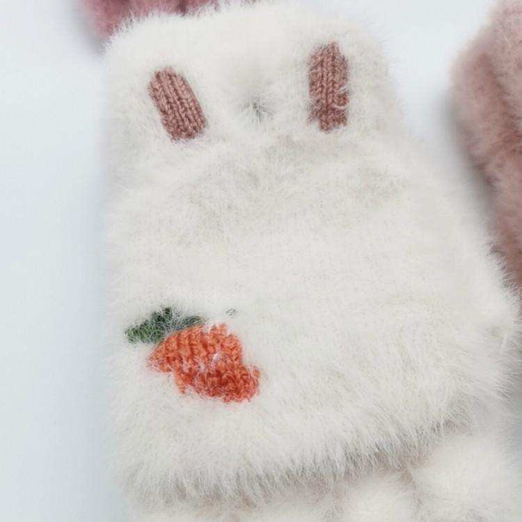 Children Half Finger Gloves Knitted Cold Warm Plus Velvet Fingerless Gloves (Light Gray)