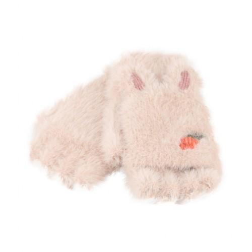 Children Half Finger Gloves Knitted Cold Warm Plus Velvet Fingerless Gloves (Beige)