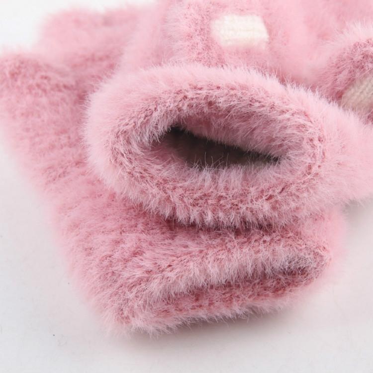 Children Half Finger Gloves Knitted Cold Warm Plus Velvet Fingerless Gloves (Navy Blue)