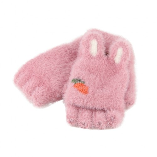 Children Half Finger Gloves Knitted Cold Warm Plus Velvet Fingerless Gloves (Dark Pink)