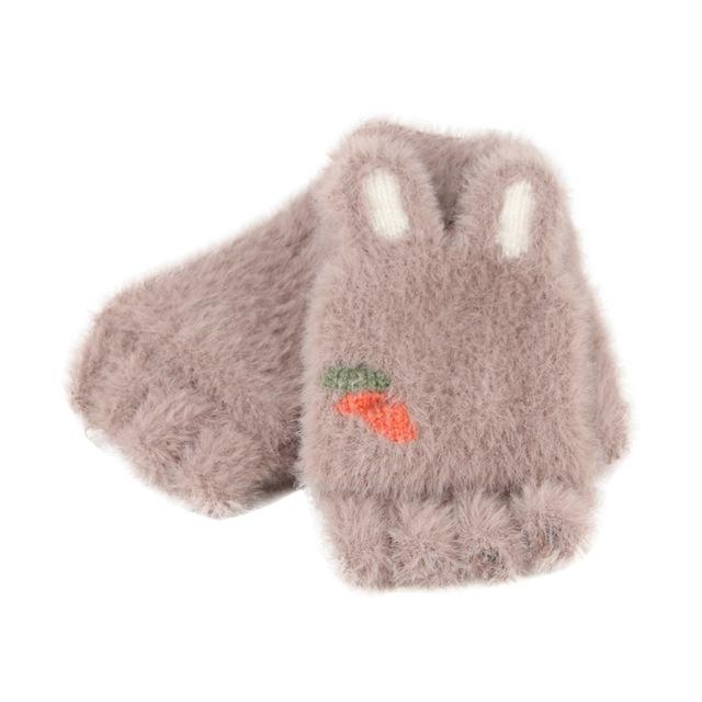 Children Half Finger Gloves Knitted Cold Warm Plus Velvet Fingerless Gloves (Coffee)