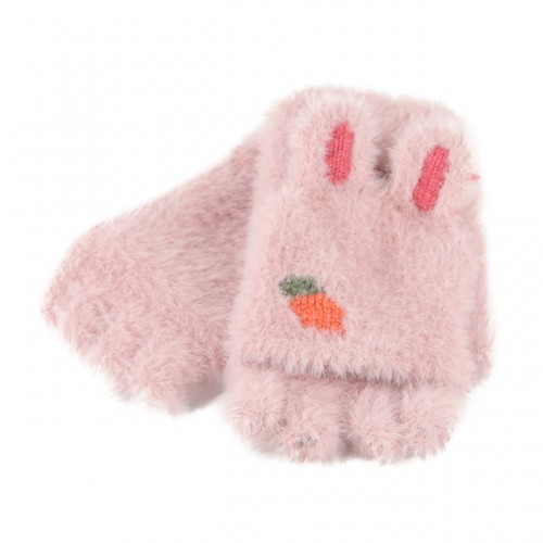 Children Half Finger Gloves Knitted Cold Warm Plus Velvet Fingerless Gloves (Light Pink)