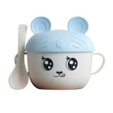 2 in 1 Cartoon Wheat Straw Bowl Spoon Set Heat Insulation Anti-hot Soup Noodle Bowl Baby Bowl Complementary Food Feeding Tableware, Specification: With Ear (Blue)