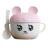 2 in 1 Cartoon Wheat Straw Bowl Spoon Set Heat Insulation Anti-hot Soup Noodle Bowl Baby Bowl Complementary Food Feeding Tableware, Specification: With Ear (Pink)