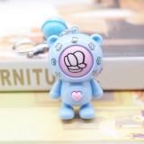 Creative Cartoon Bear Guessing Keychain Pendant Stone Scissors Cloth Bag Key Chain Car Pendant Small Gifts (Blue Bear + Blue Bell)