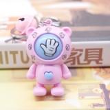 Creative Cartoon Bear Guessing Keychain Pendant Stone Scissors Cloth Bag Key Chain Car Pendant Small Gifts (Pink Bear + Pink bell)